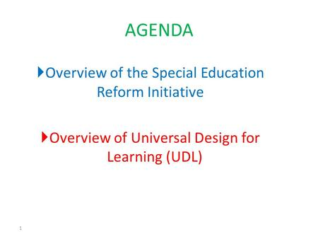 Overview of the Special Education Reform Initiative Overview of Universal Design for Learning (UDL) 1 AGENDA.