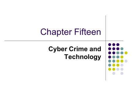 Cyber Crime and Technology