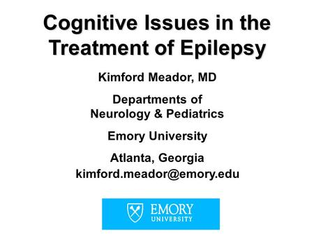 Cognitive Issues in the Treatment of Epilepsy