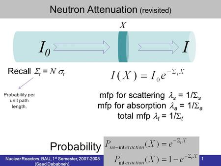 I0 I Probability Neutron Attenuation (revisited) X Recall t = N t