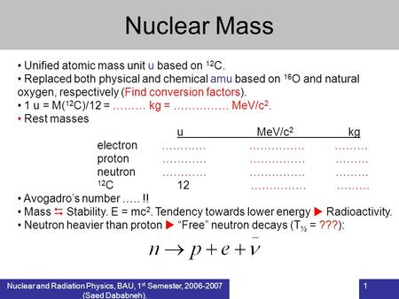 Nuclear and Radiation Physics, BAU, 1 st Semester, 2006-2007 (Saed Dababneh). 1 Nuclear Mass Unified atomic mass unit u based on 12 C. Replaced both physical.