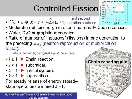 Controlled Fission  235U + n  X + Y + (~2.4)n