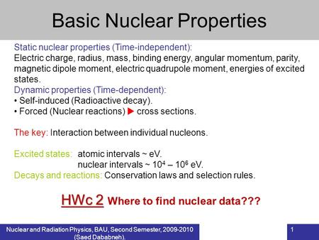 Basic Nuclear Properties
