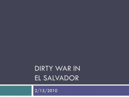 Dirty War in El Salvador