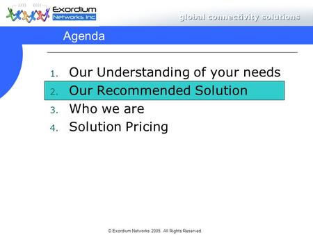 © Exordium Networks 2005. All Rights Reserved. Agenda 1. Our Understanding of your needs 2. Our Recommended Solution 3. Who we are 4. Solution Pricing.