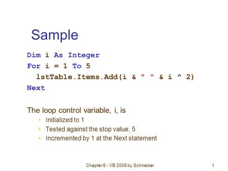 Chapter 6 - VB 2005 by Schneider1 Sample Dim i As Integer For i = 1 To 5 lstTable.Items.Add(i &   & i ^ 2) Next The loop control variable, i, is Initialized.