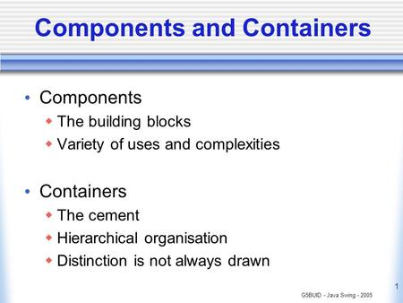 Components and Containers