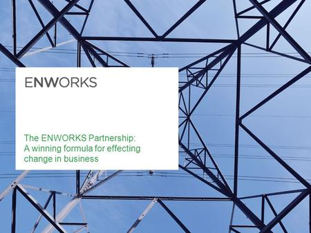 The ENWORKS Partnership: A winning formula for effecting change in business.