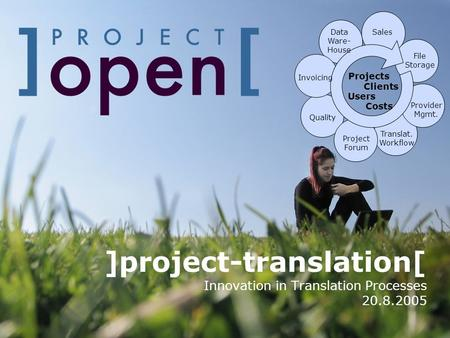 ]project-translation[ Innovation in Translation Processes 20.8.2005 Translat. Workflow Projects Users Clients Costs Data Ware- House File Storage Project.