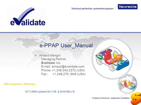 e-PPAP User_Manual Arnaud Mangin Managing Partner Evalidate Inc.