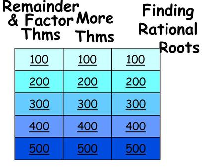 Remainder & Factor Thms Finding Rational Roots