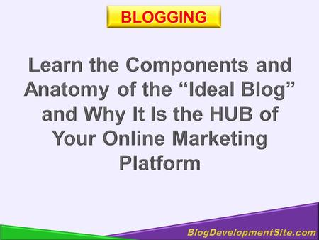BLOGGING. Your Product Your Top Links Your Blog - The HUB of Your Internet Existence.