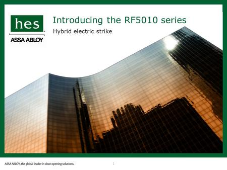 1 Introducing the RF5010 series Hybrid electric strike.