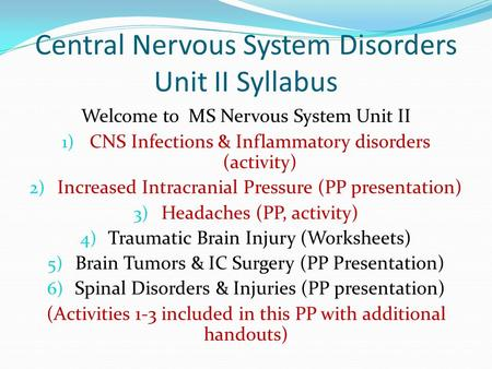 Central Nervous System Disorders Unit II Syllabus