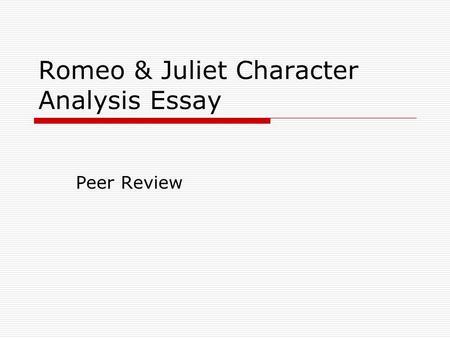 romeo analysis essay