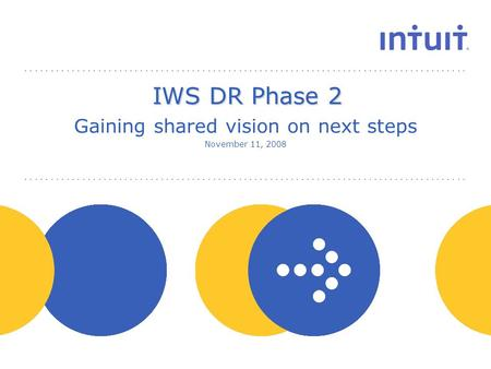 People IWS DR Phase 2 Gaining shared vision on next steps November 11, 2008.