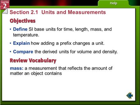 Section 2.1 Units and Measurements