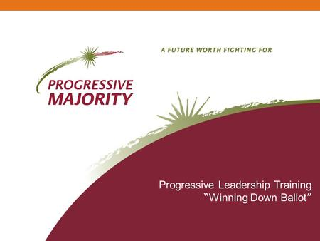 Progressive Leadership Training Winning Down Ballot.