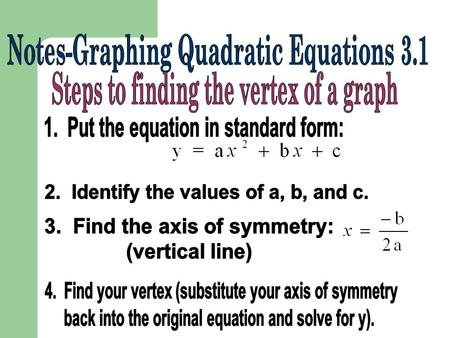 1.Find the vertex point, (h, k): 2.a will be the a from the standard form equation. 3. Substitute into y = a (x-h) 2 + k.