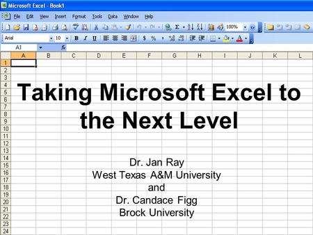 Taking Microsoft Excel to the Next Level Dr. Jan Ray West Texas A&M University and Dr. Candace Figg Brock University.