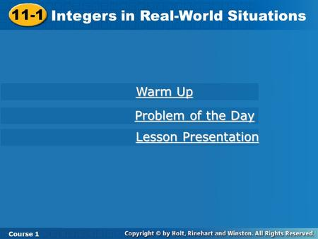 Integers in Real-World Situations