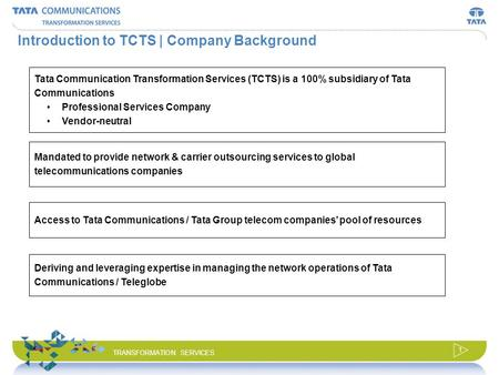 © 2008 Tata Communications Transformation Services, Ltd. All Rights Reserved. TRANSFORMATION SERVICES Business Transformation Solution for Carriers May.