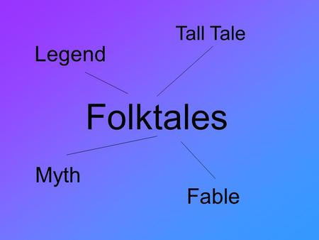 Folktales Tall Tale Legend Myth Fable. Traditional Literature- Fable The characters are usually animals that have human qualities. One animal usually.