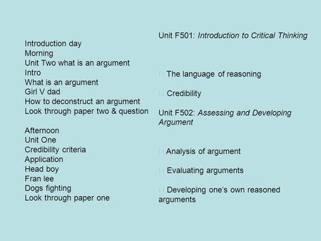 Unit F501: Introduction to Critical Thinking