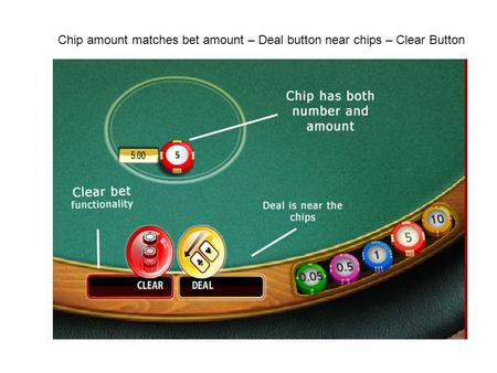 Chip amount matches bet amount – Deal button near chips – Clear Button.