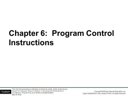 Chapter 6:  Program Control Instructions