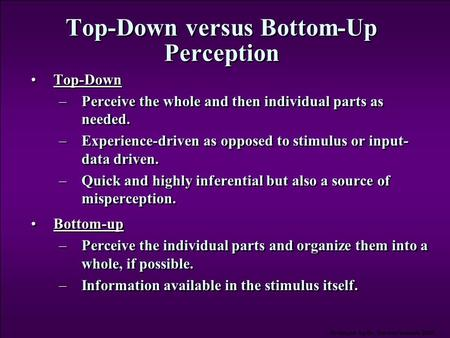 Top-Down versus Bottom-Up Perception
