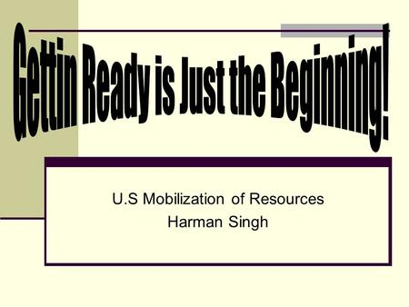 U.S Mobilization of Resources Harman Singh. Overview The U.S did a lot during the war and going into the war. After the attack on Pearl Harbor, the U.S.