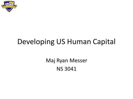 Developing US Human Capital