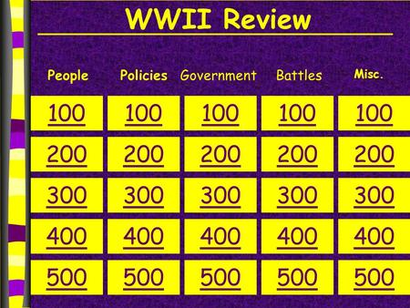 WWII Review PeoplePoliciesGovernment 100 200 300 400 500 100 200 300 400 500 100 200 300 400 500 100 200 300 400 500 100 200 300 400 500 Misc. Battles.