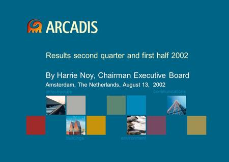 Infrastructure buildings environment communications Results second quarter and first half 2002 By Harrie Noy, Chairman Executive Board Amsterdam, The Netherlands,