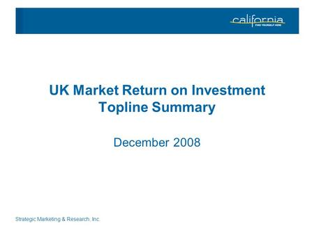 Strategic Marketing & Research, Inc. UK Market Return on Investment Topline Summary December 2008.