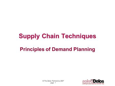 Supply Chain Techniques