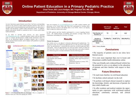 Online Patient Education in a Primary Pediatric Practice Chad Teven, BS; Laura Hodges, BS; Yingshan Shi, MD, MS Department of Pediatrics, University of.