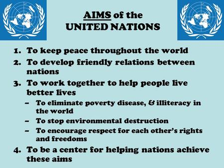 AIMS of the UNITED NATIONS