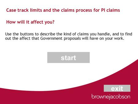 Case track limits and the claims process for PI claims How will it affect you? Use the buttons to describe the kind of claims you handle, and to find out.