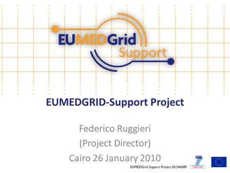 EUMEDGRID-Support Project Federico Ruggieri (Project Director) Cairo 26 January 2010.