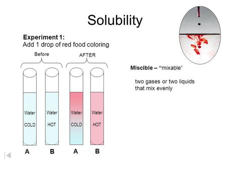 Solubility Experiment 1: Add 1 drop of red food coloring A B A B