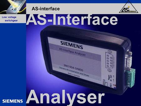 GG-Kennung oder Produktname Low voltage switchgear AS-interface Analyser AS-Interface.