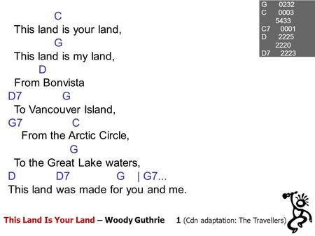 This Land Is Your Land – Woody Guthrie 1 (Cdn adaptation: The Travellers) G 0232 C 0003 5433 C7 0001 D 2225 2220 D7 2223 C This land is your land, G This.