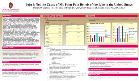 Juju is Not the Cause of My Pain: Pain Beliefs of the Igbo in the United States Miriam O. Ezenwa, MS, RN, Erica OBrien, BSN, RN, Molly Hanson, BS, Sandra.