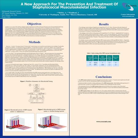 A New Approach For The Prevention And Treatment Of Staphylococcal Musculoskeletal Infection Orthopaedic Research Society 49 th Annual Meeting, February.