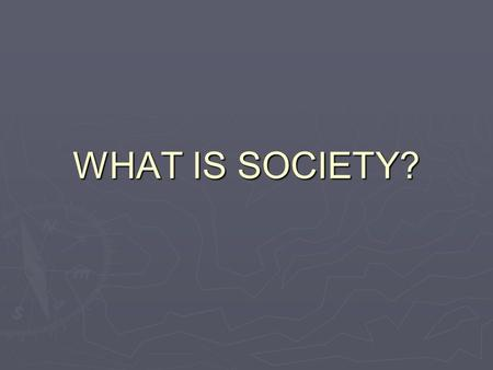WHAT IS SOCIETY?.