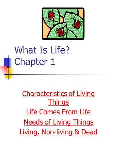 What Is Life? Chapter 1 Characteristics of Living Things