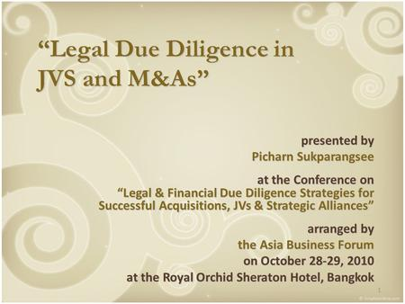 """Legal Due Diligence in JVS and M&As"""