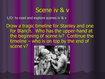 Scene iv & v Draw a tragic timeline for Stanley and one for Blanch. Who has the upper-hand at the beginning of scene iv? Continue the timeline – who is.